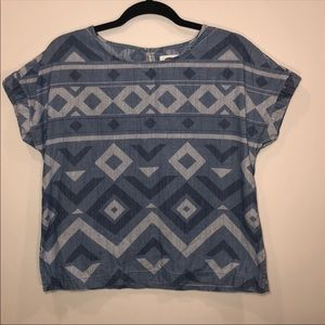 Old Navy Chambray Geometric Print Blouse